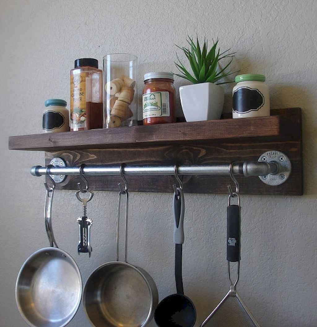 Hanging Bar Pot Rack. Industrial Rustic Kitchen Wall Shelf 2