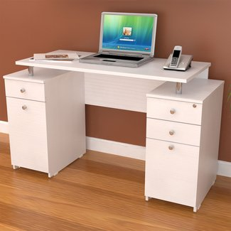 Inval White Modern Straight Computer Writing Desk With Locking File