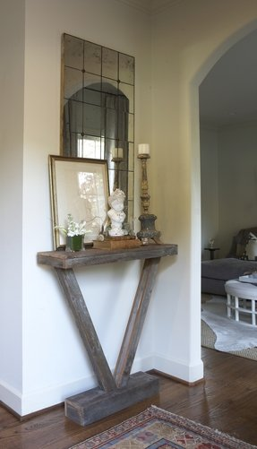 Mirror over console table