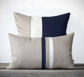 Navy decorative pillow set 12x20 stripe