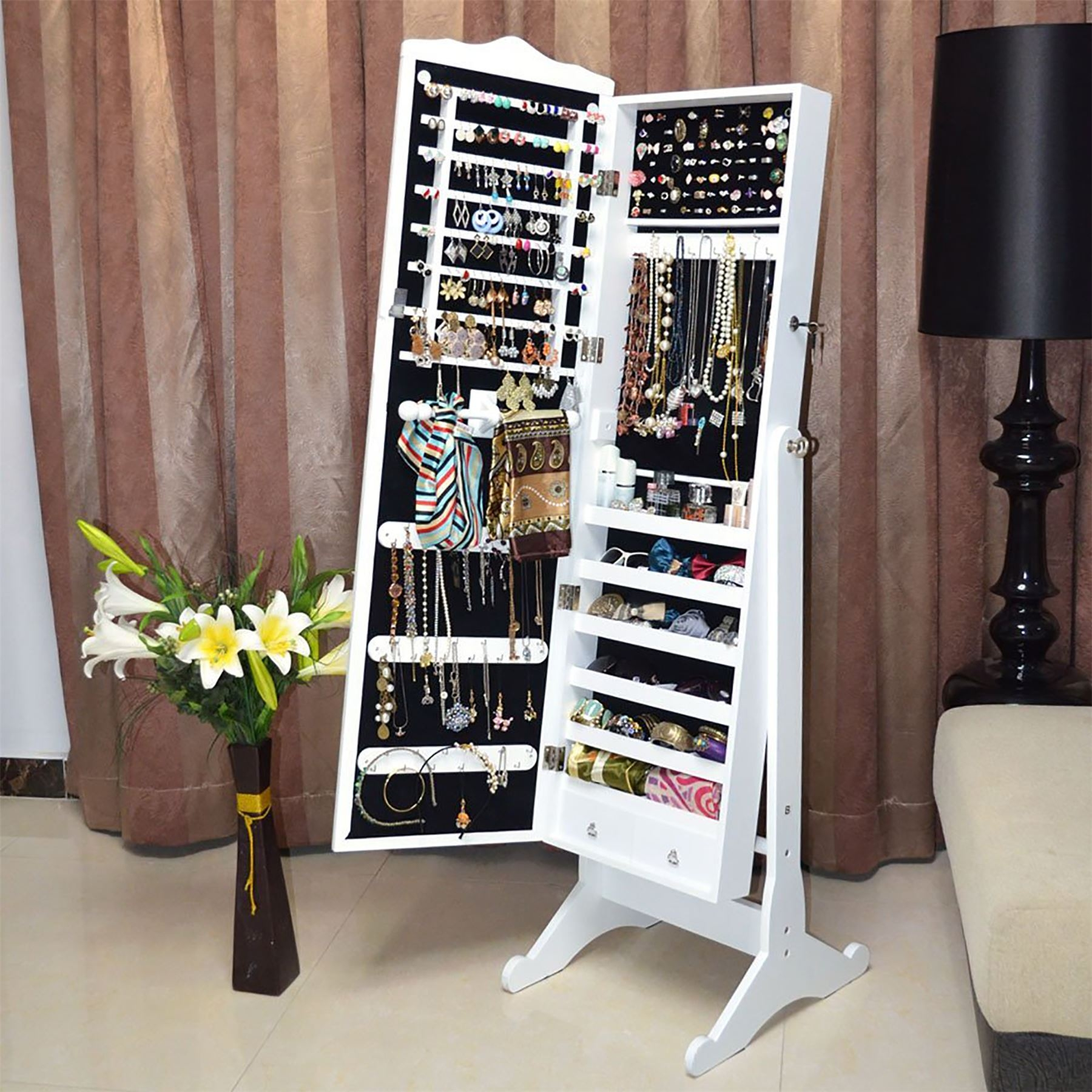 Genial Organizedlife White Mirror Jewelry Armoire Free Standing Storage Cabinet  Wood Cheval
