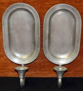 Pair vintage colonial casting co pewter wall sconces candle holders
