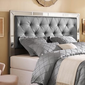 Silver Tufted Headboard