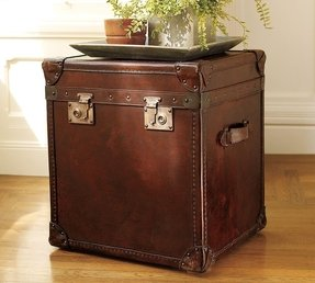 Trunk end tables leather