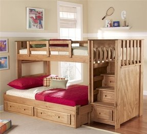 Twin Over Full Standard Bunk Bed With Stairway And Underbed Storage