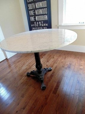 Vintage round marble dining table large size 38 seats 4