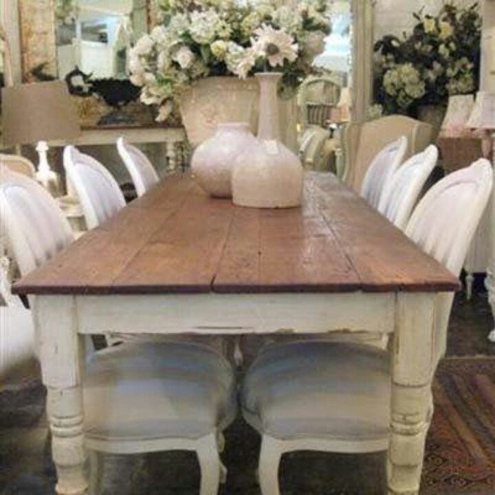 High Quality White Distressed Dining Table