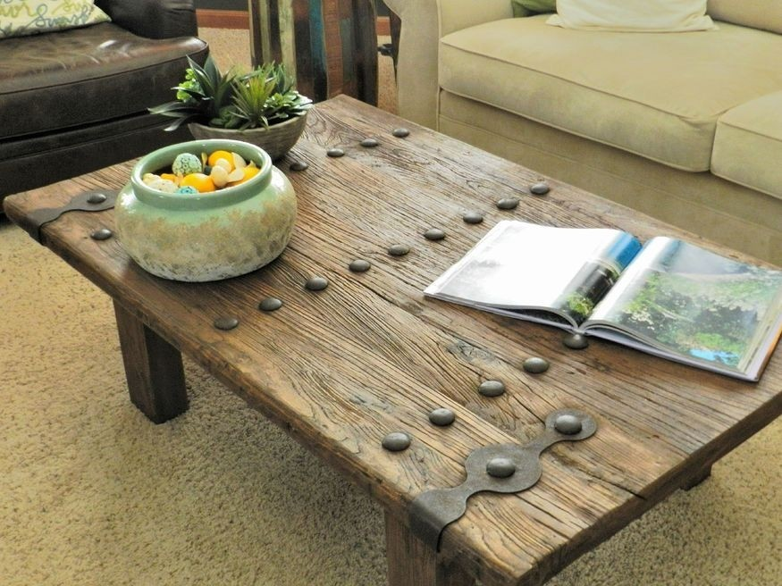 Wood and wrought iron coffee table 1