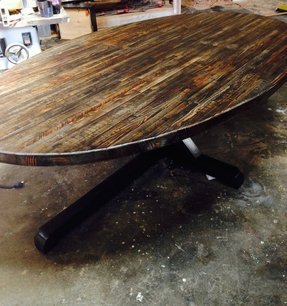 Wood oval dining table 5
