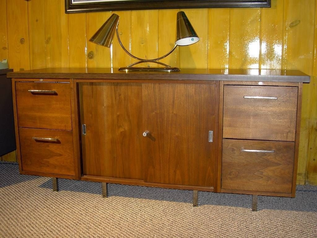 Alma Executive Desk And Credenza Danish Mid Century Walnut Teak Dark Wood Tone