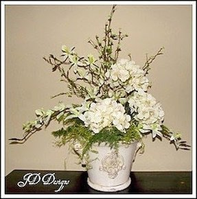 Fake hydrangeas in vase