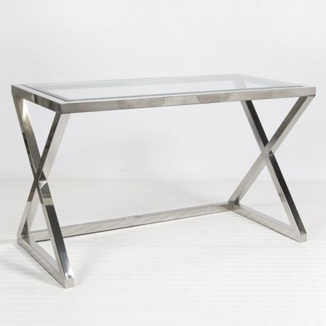 Superbe Glass And Chrome Console Table