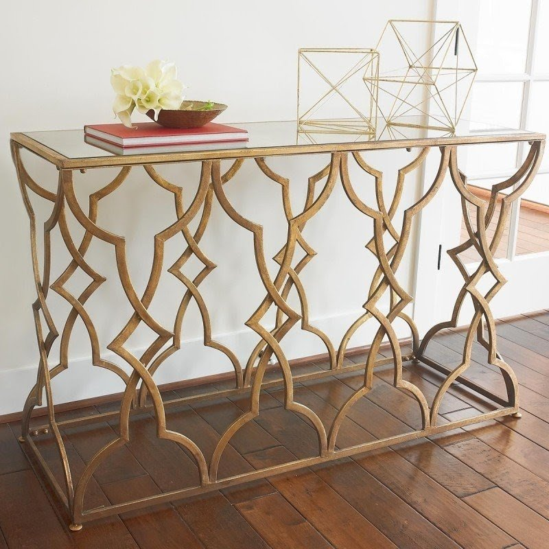 Delightful Glass Metal Console Table