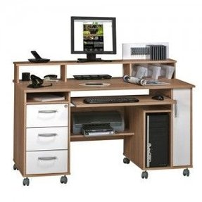 Home office computer workstation with drawers keyboard and printer shelves