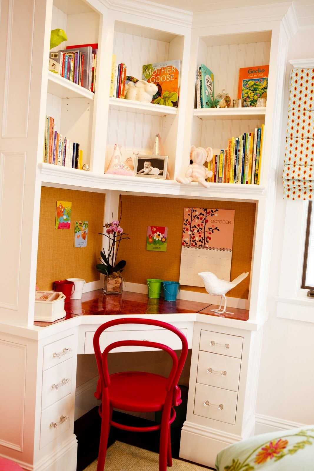 Beautiful A Beautiful Contemporary Corner Desk (for Kids) With A Tall Hutch Made Of  White Finished Wooden Materials. A Desk Has A Heptagonal Red Top And A Full  ...