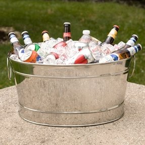 Large metal tubs for drinks