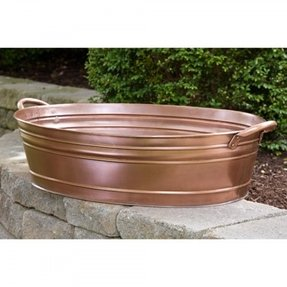 Large smooth copper oval beverage tub signature hardware