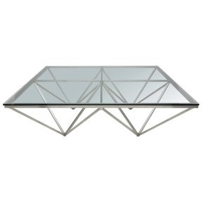 Large square glass coffee table