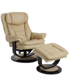 Leather recliner chair with ottoman 1