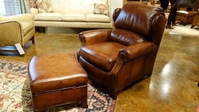 Leather recliner chair with ottoman 9