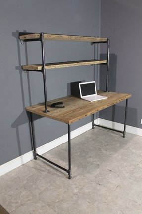Raw reclaimed computer desk w 2 shelving