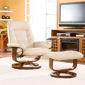 Reclining leather chair with ottoman