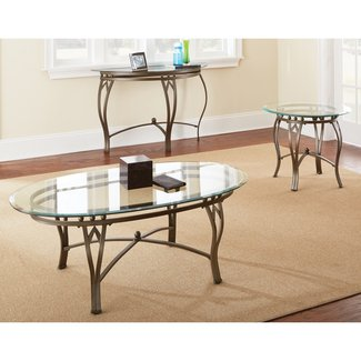 Round glass top coffee table with wood base 1
