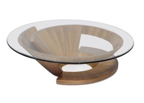 Round Gl Top Coffee Table With Wood Base