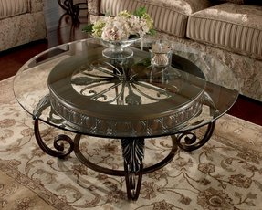 Round metal and glass coffee table 2