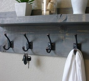 Rustic modern weathered gray 5 hanger