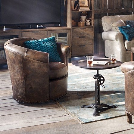Merveilleux Small Leather Swivel Chairs