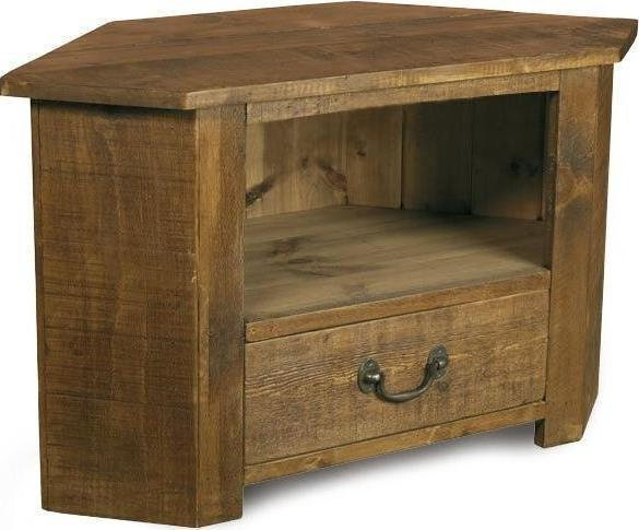 Solid wooden corner tv cabinet stand av audio unit rustic