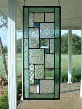 Stained glass panel seafoam green window 1