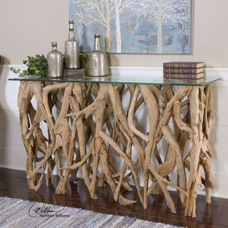 Teak wood console table glass top nautical beach cottage driftwood