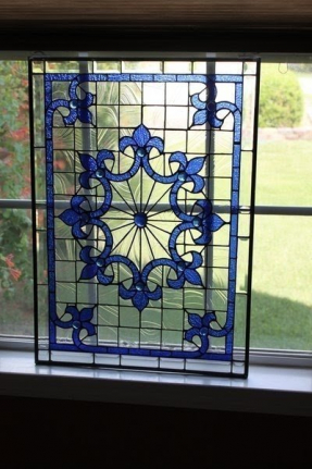 Tiffany style stained glass window panel 1