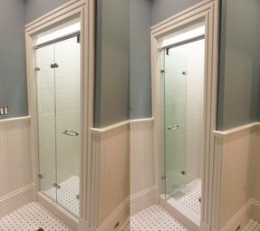 Tri fold glass shower doors