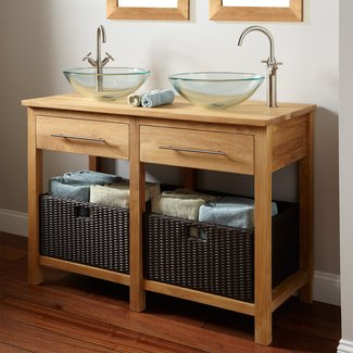 Vanity with vessel sink