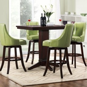 Vella green swivel upholstered 5 piece pub height set