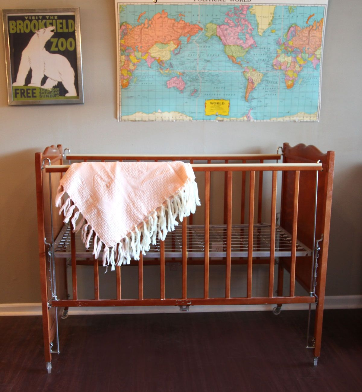 Vintage baby crib maple wood with