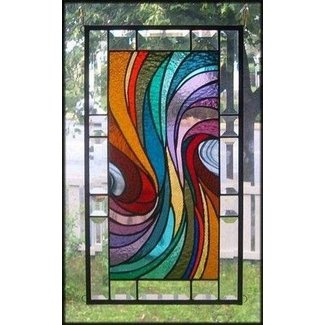 Warm waves stained glass window panel signed and dated