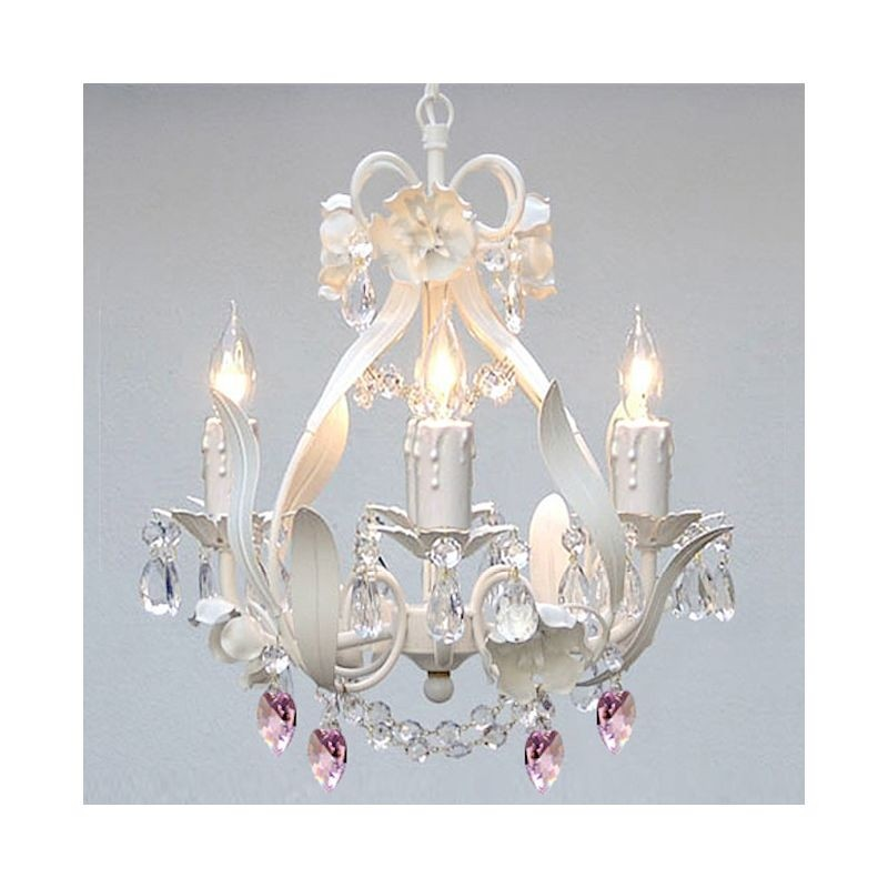 Superior WHITE IRON CRYSTAL CHANDELIER LIGHTING W/ PINK CRYSTAL HEARTS!   PERFECT  FOR KIDu0027S AND