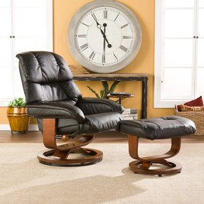 Windsor brown leather recliner and ottoman set 1