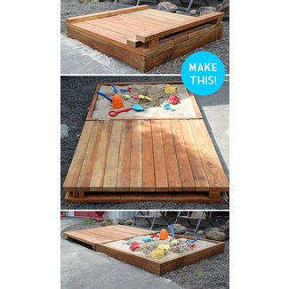 Wood sandbox with cover