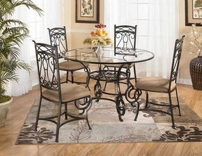 Wrought Iron Kitchen Chairs Elegant Dining Set Consisting Of Round Table