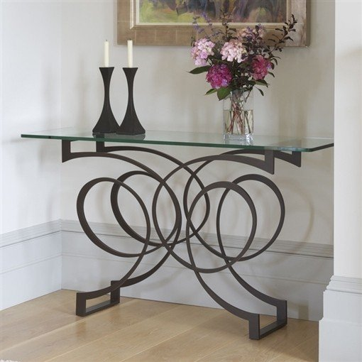 Black Metal And Glass Console Table