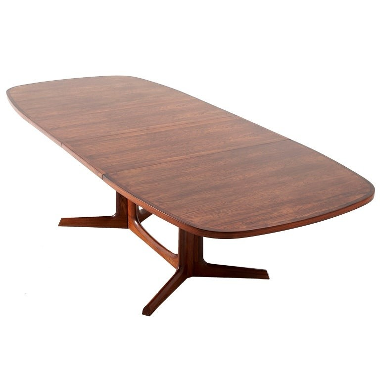 Lovely Danish Rosewood Dining Table Organic Base Two Extension Leaves