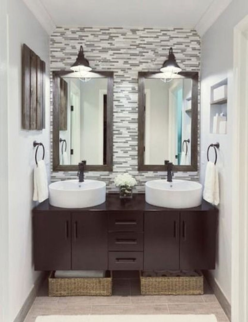 Genial Dark Wood Tile Bathroom