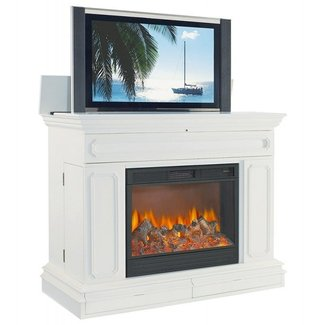 Electric fireplace with tv lift