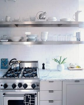 Floating stainless steel kitchen shelves 1