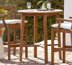 Teak Bar Height Table Foter - Teak high top table and chairs